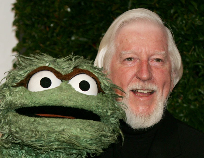 """Caroll Spinney who portrayed """"Sesame Street"""" characters Oscar The Grouch, left, and Big Bird photographed in 2006."""