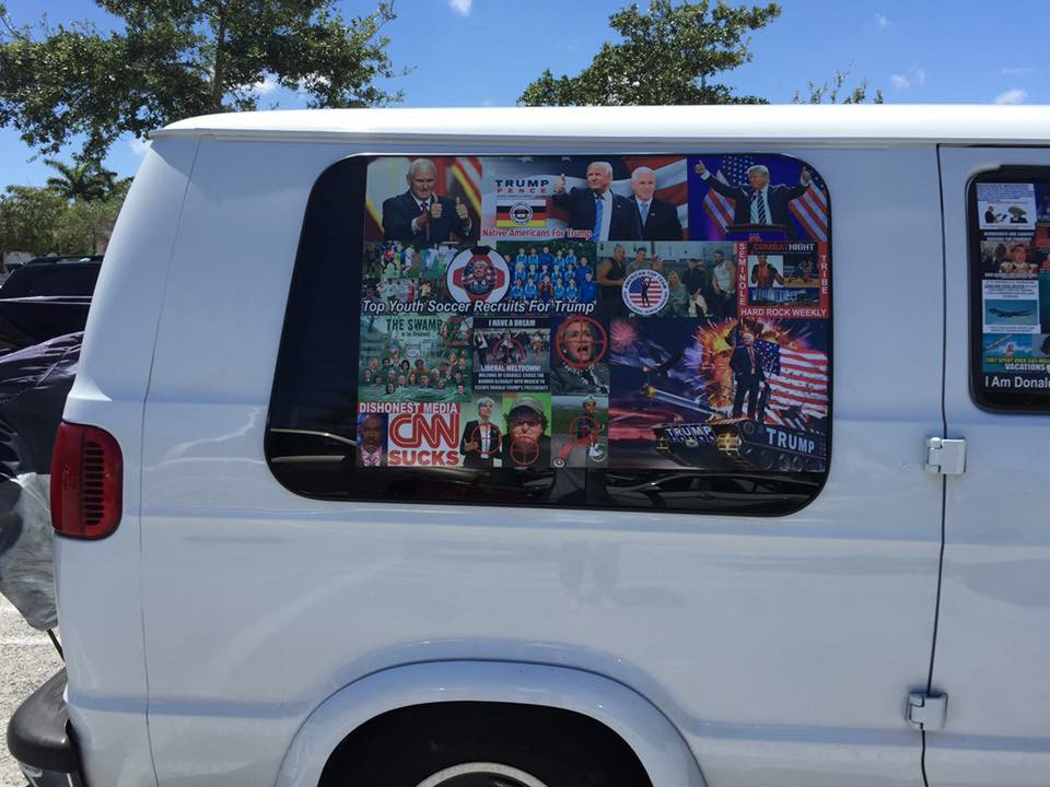 This May 2017 photo provided by Natalie B. Kline and obtained by The Washington Post shows a van parked near a shopping mall in Aventura, Florida. On Friday, federal agents and police officers examined this van in Plantation, Fla., in connection with package bombs that were sent to high-profile critics of President Trump, and arrested Cesar Sayoc.