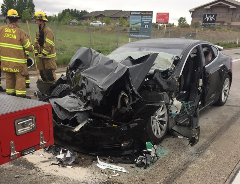 A traffic collision involved a Tesla Model S sedan and a fire department mechanic truck in South Jordan, Utah, in May.