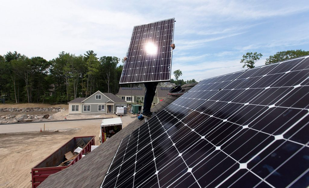 "On solar, Gov.-elect Janet Mills supports strengthening ""net metering"" policies that provide electricity price credits to homeowners who feed excess power onto the grid from their solar panels."