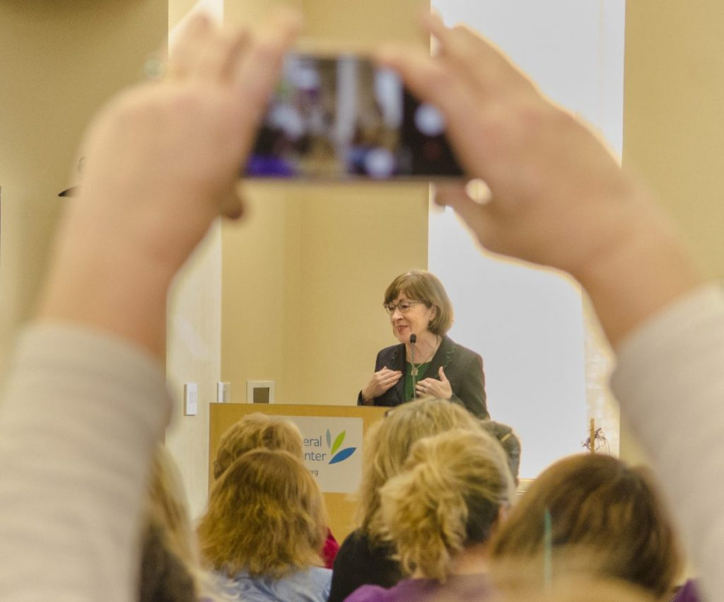 Sen. Susan Collins, R-Maine, speaks to home care and hospice workers at MaineGeneral Medical Center's Alfond Center for Health on Wednesday in Augusta.