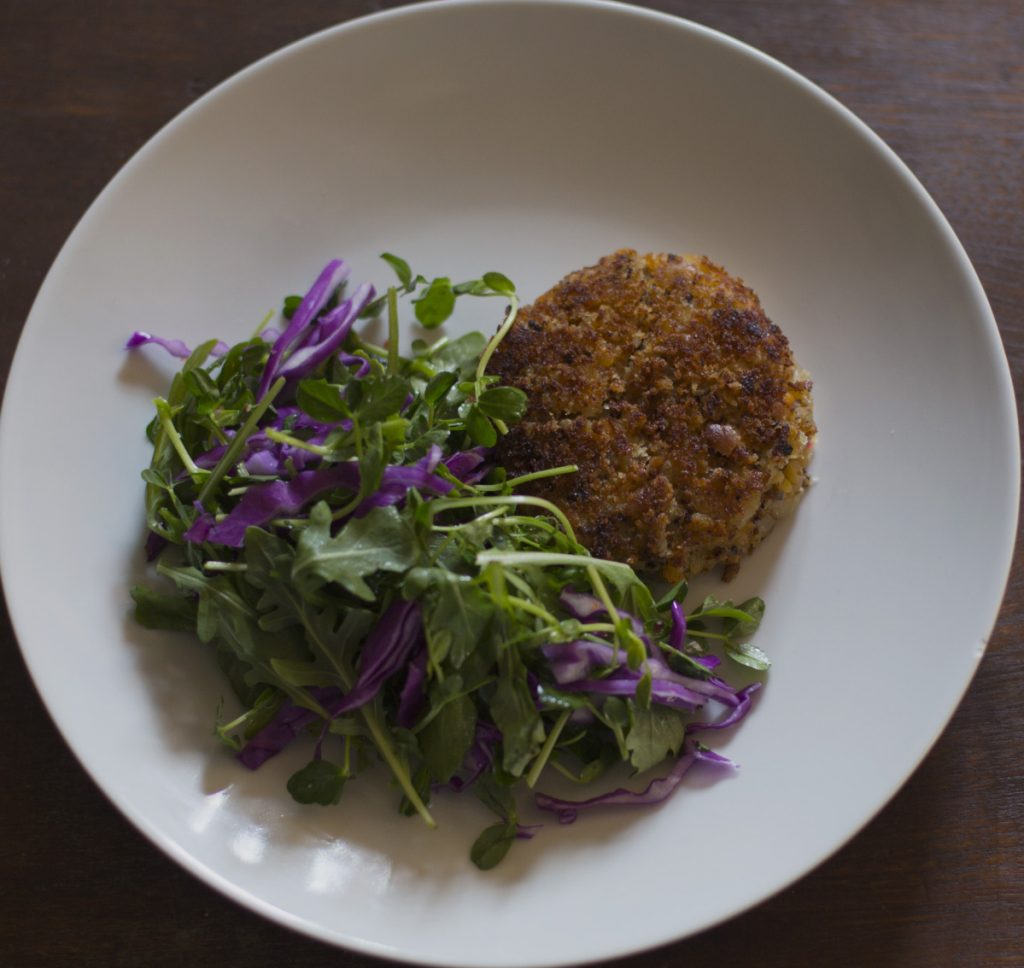 Quinoa, Red Lentil and Potato Cakes.