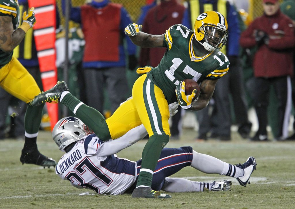 Davante Adams of the Green Bay Packers had a coming-of-age game against the Patriots in 2014. Now he may need support from other young players as the teams meet again.