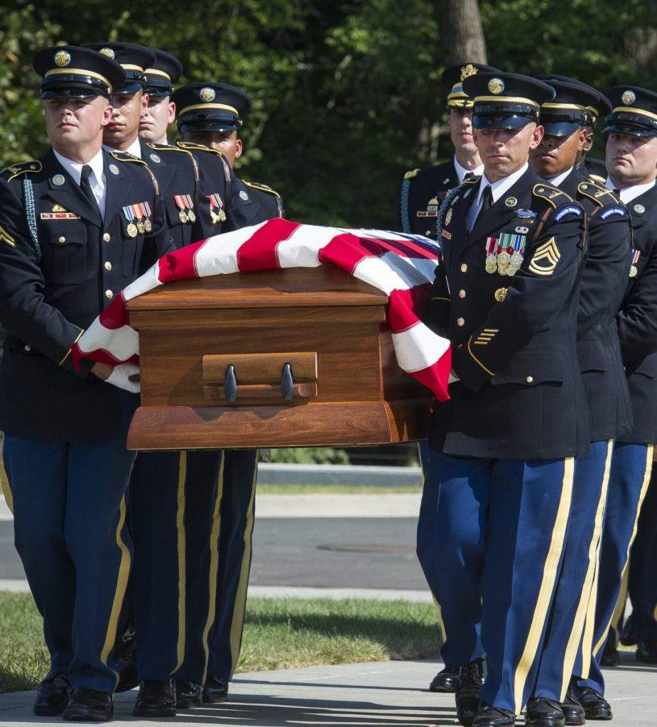 Members of the 3rd Infantry Regiment carry the remains of two unknown Civil War soldiers to their grave at Arlington National Cemetery on Sept. 6.
