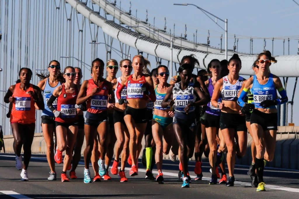 Elite women runners cross the Verrazano-Narrows Bridge during the New York City Marathon on Sunday in New York.