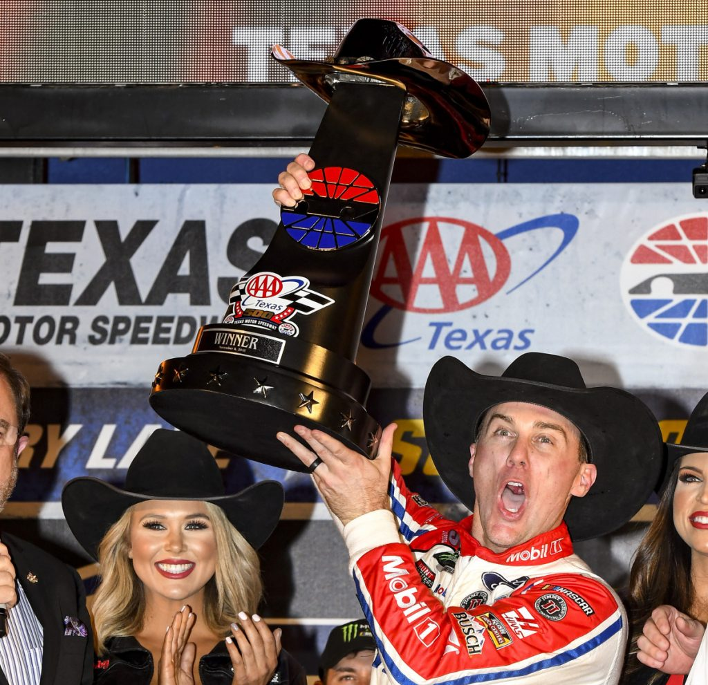 Kevin Harvick celebrates after his victory in Sunday's NASCAR Cup race at Texas Motor Speedway. Harvick will race for the championship in two weeks at Homestead.