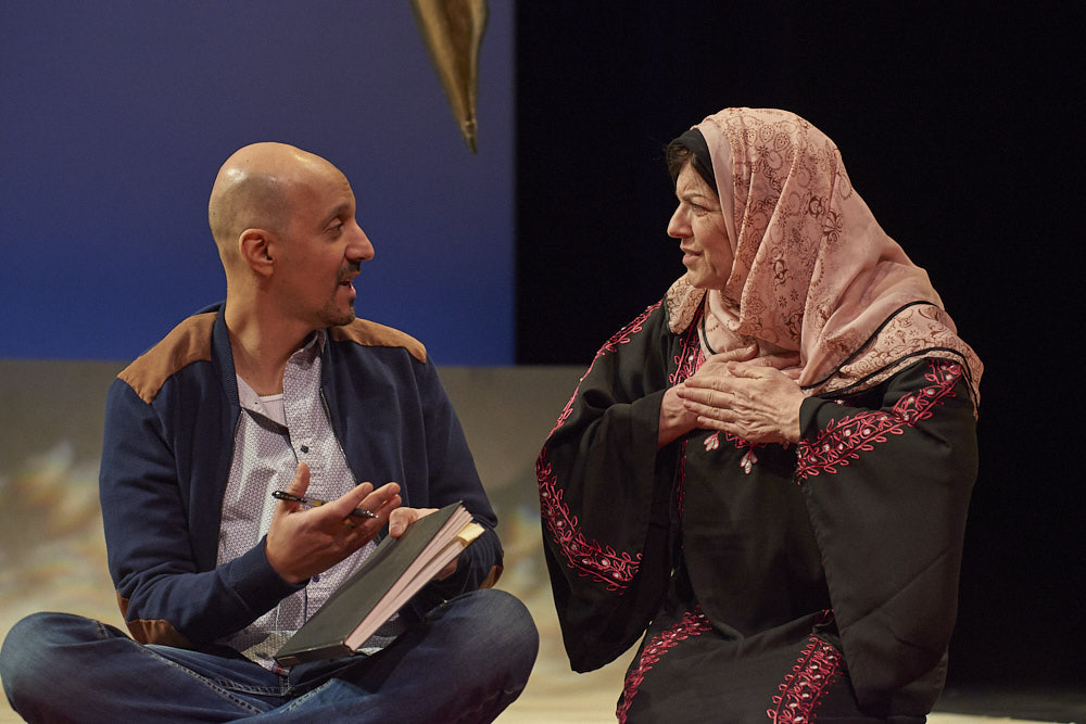 "Amro Salama as reporter-poet Ibrahim, and Shauna Bloom as Mother in ""Refuge Malja."""