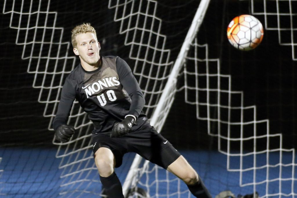 The St. Joseph's College men's soccer team, and goalie Blake Mullen, have allowed just one goal this season. The Monks have a 77-1 goal differential.
