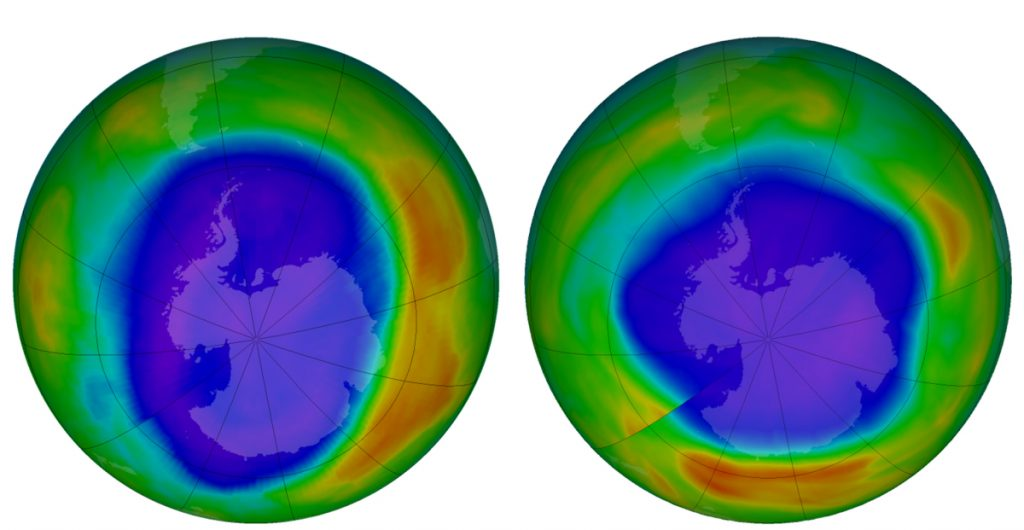 NASA images depict areas of ozone above Antarctica in September 2000, left, and 2018. The purple and blue are where there is the least ozone; orange and red show where there's more.