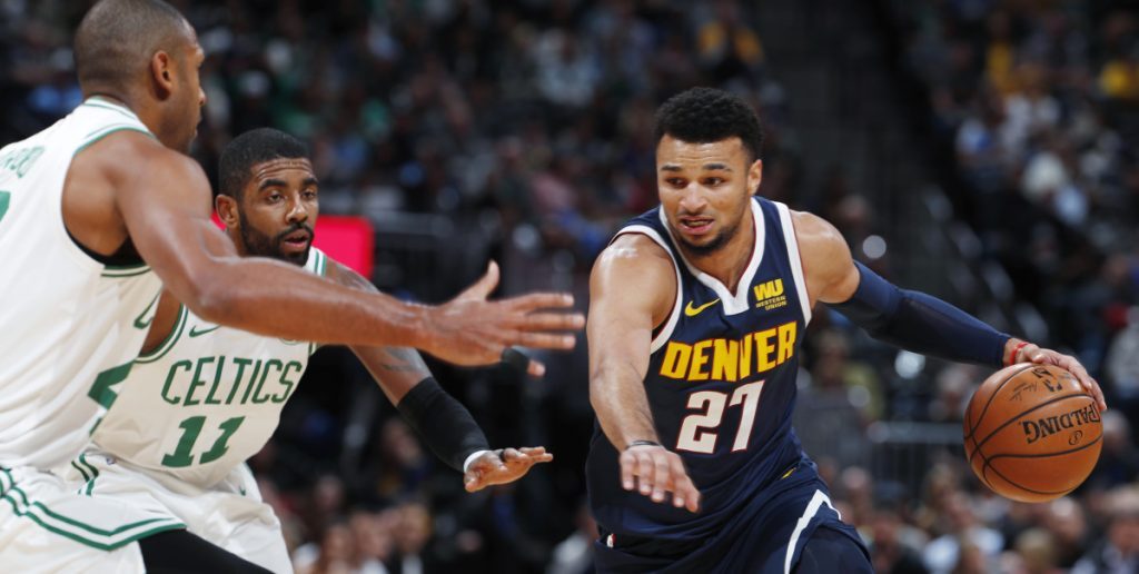Denver's Jamal Murray scored 48 points Monday in a 115-107 win over the Celts. His 3-point shot with a second left angered Kyrie Irving, who threw the ball into the stands.