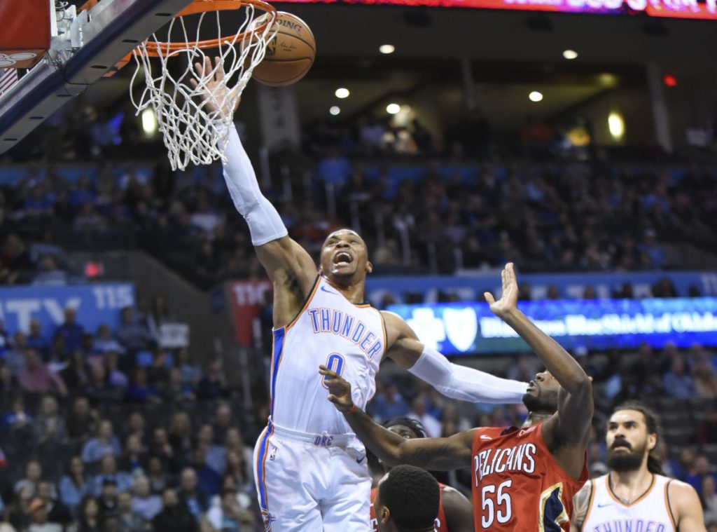 Oklahoma City Thunder guard Russell Westbrook will not play Wednesday because of a sprained left ankle, suffered Monday night.