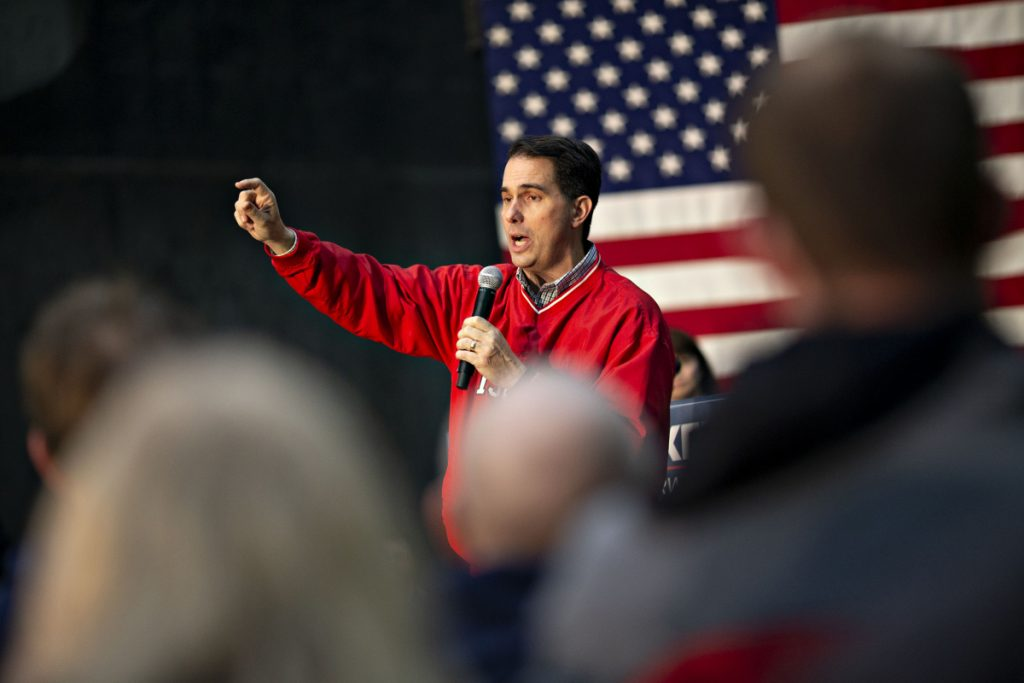 Scott Walker, governor of Wisconsin, speaks during a campaign rally at Weldall Manufacturing, in Waukesha, Wisconsin, on Monday. He lost his re-election bid.