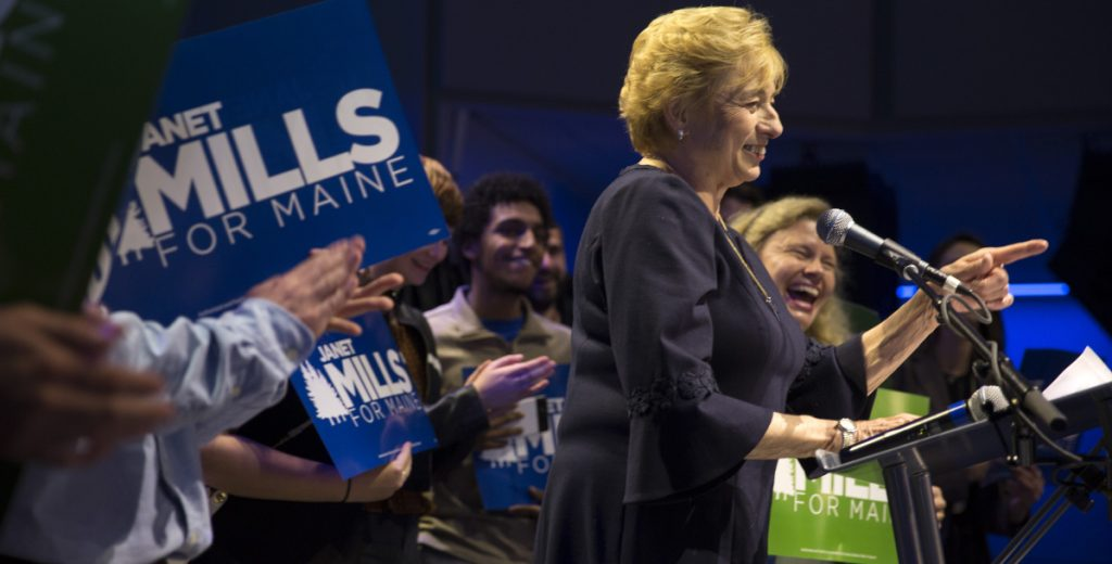Gov.-elect Janet Mills gives her victory speech at the Maine Democrats' election night party in Portland on Tuesday. She is the first woman elected to the office in Maine history.