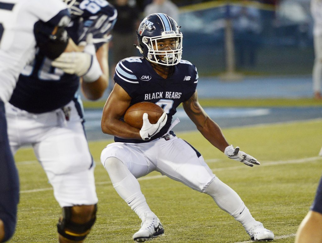 Running back Ramon Jefferson leads UMaine with 515 rushing yards and five touchdowns, averaging 5.9 yards per carry. He and the Black Bears travel to Richmond to play the Spiders on Saturday.