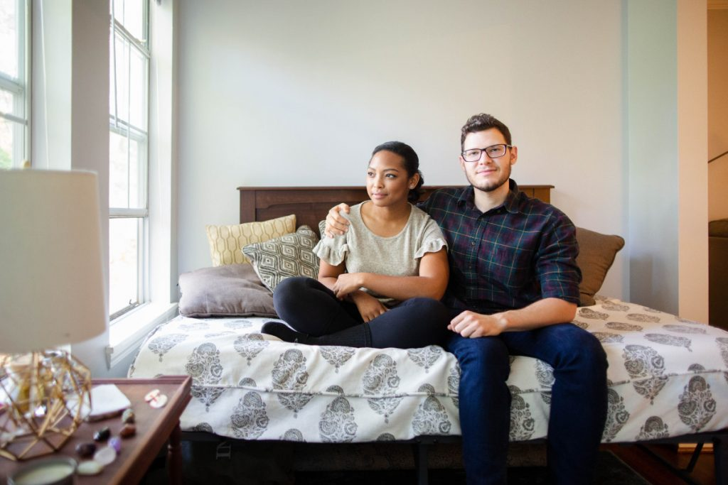 """""""We pay $1,200 a month for more than double the space, with two bedrooms, two bathrooms and everything brand-new,"""" said Ashley Brown, who moved to Atlanta with her fiance, Aaron Shuman."""