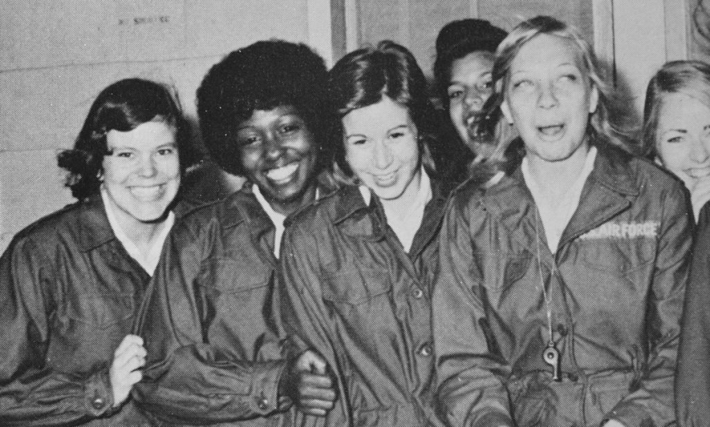 "Brenda Dearborn, far left, during basic training at Lackland Air Force Base in Texas in 1974. Dearborn grew up in Maryland and enlisted after high school, following in the footsteps of two brothers who served in Vietnam. Her father wasn't happy about it. ""He told me to pack my bags and get out,"" she said. ""He had a low opinion of women in the military. He eventually came around ... and told me he was proud of me."""
