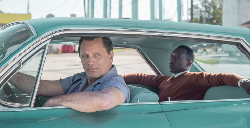 "Viggo Mortensen and Mahershala Ali in the film ""Green Book."""