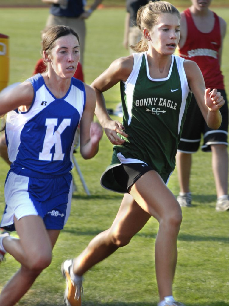 Abbey Leonardi, left, of Kennebunk and Emily Durgin of Bonny Eagle finished 1-2 at the New England cross country championships as freshmen and dueled throughout their high school careers before going on to run for NCAA Division I schools – Leonardi at Oregon, Durgin at UConn.