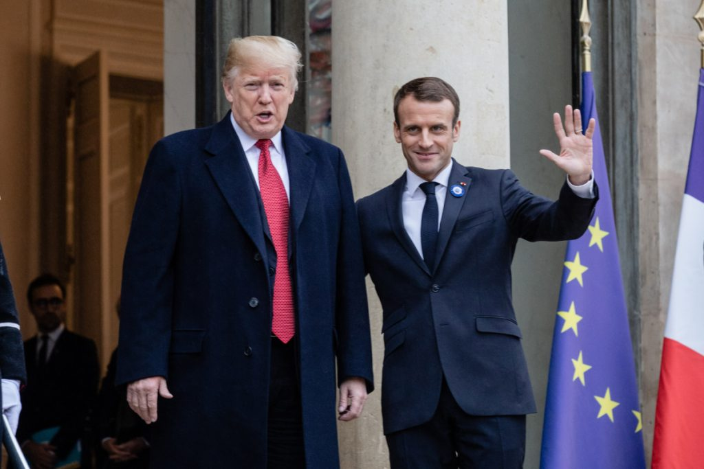 President Trump and French President Emmanuel Macron meet at the Elysee Palace during World War I commemoration ceremonies in Paris on Saturday.