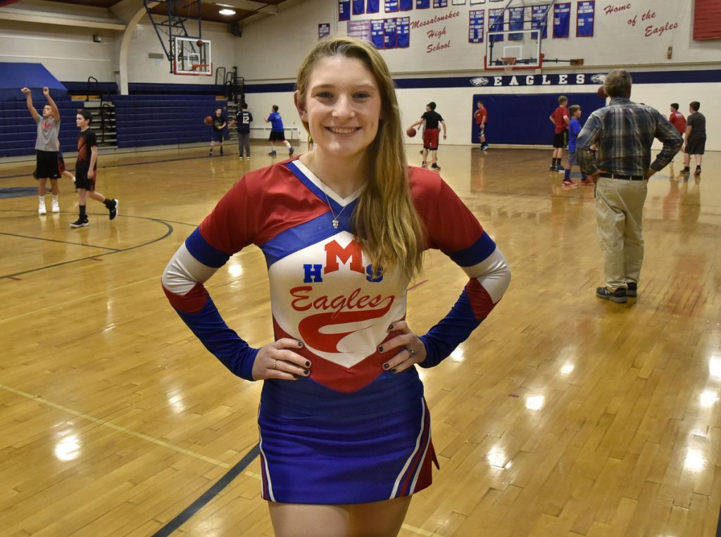 Messalonskee High School student Kaitlyn Berthiaume is the school's sole cheerleader.