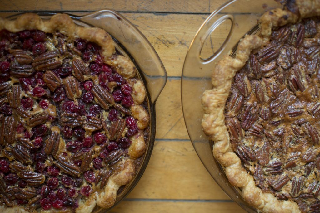 Cranberry pecan pie and lemon pecan pie