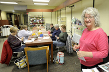 Donna Lester at Love to Knit studio in Scarborough. An analysis concludes that people who joined a group to craft socially were 25 percent more likely to take the plunge into entrepreneurship.