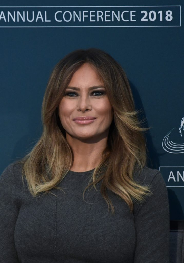 First lady Melania Trump listens at an online-safety conference Thursday.