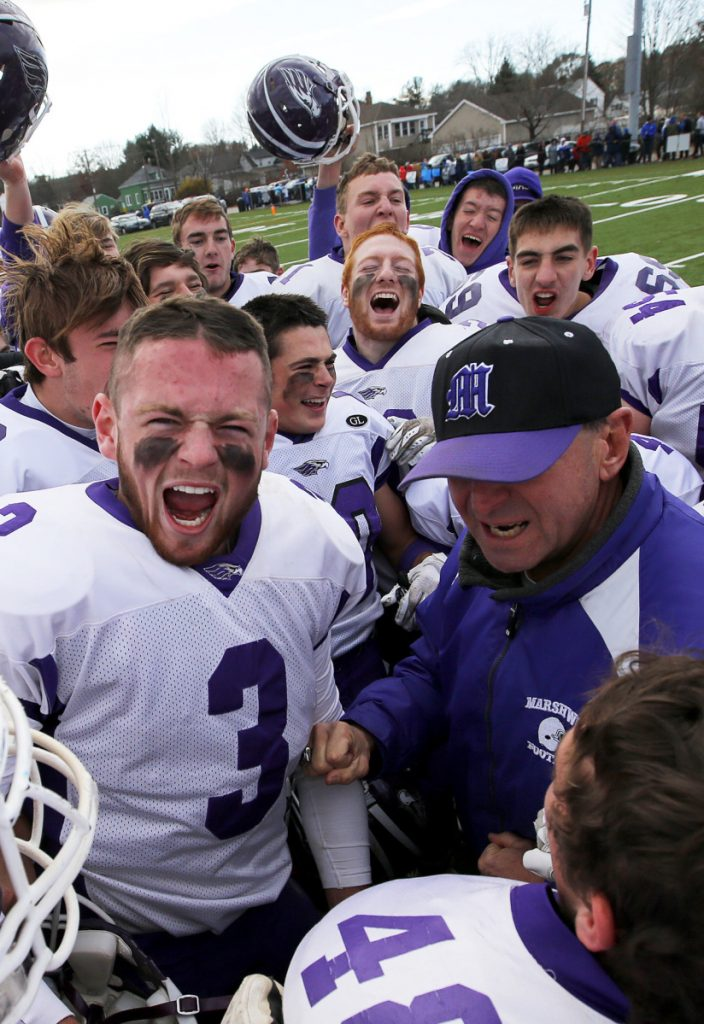 Tucker Davis, left, is part of a group of Marshwood seniors who have made their biggest contributions in practice, helping their teammates prepare for each game.