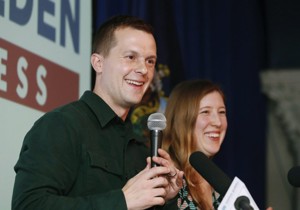 Democrat Jared Golden, joined by his wife, Isobel, on election night, 'believes it's time for new leadership' in the U.S. House, says his campaign spokesman.