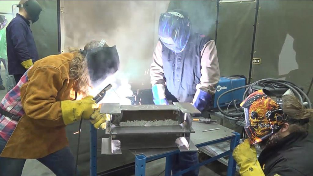 Students take welding class as part of SMCC's Manufacturing Technician Training Course. Participants who successfully complete the training will be interviewed for positions at BIW.
