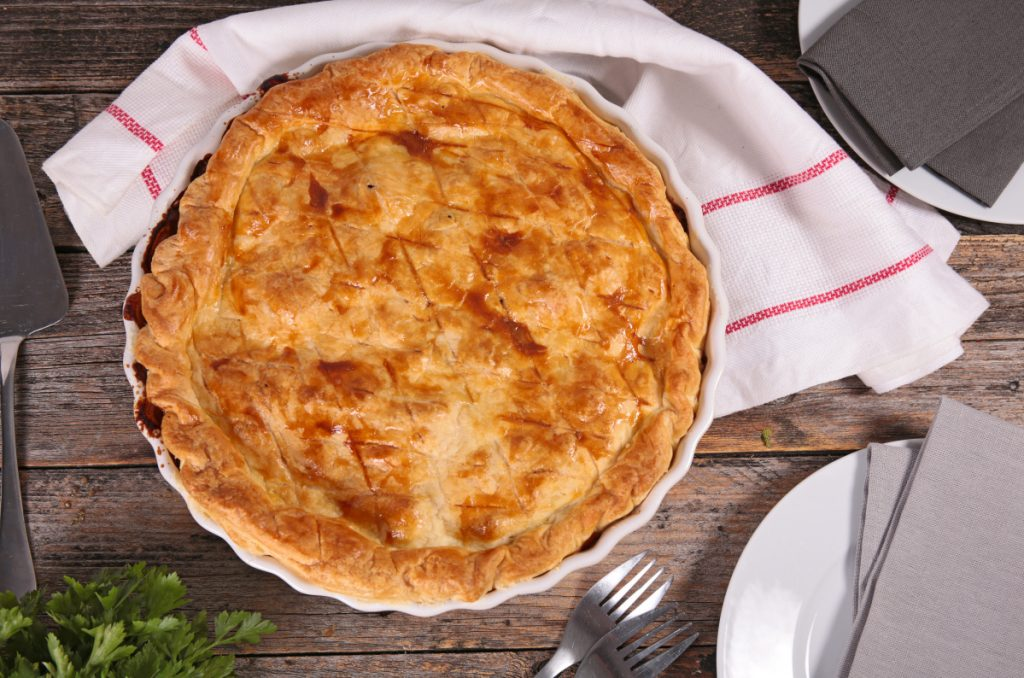 This recipe for Turkey Pot Pie makes 2 servings.