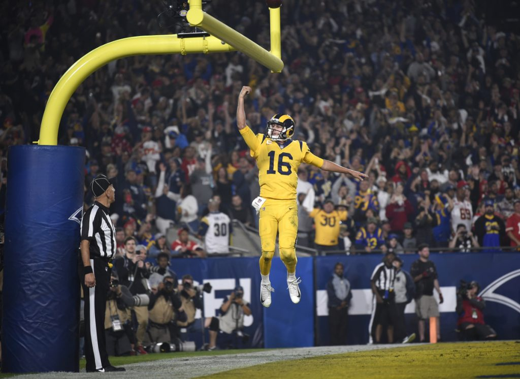Los Angeles Rams quarterback Jared Goff celebrates after scoring a touchdown against the Kansas City Chiefs during the second half of an NFL football game, Monday, Nov. 19, 2018, in Los Angeles. (AP Photo/Kelvin Kuo)