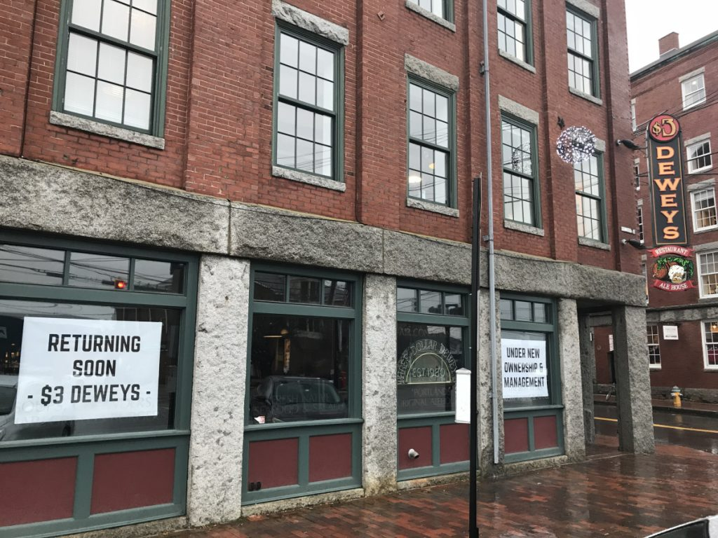 Three Dollar Deweys was an unusual bar when it opened in 1980 because it served imported beers that were hard to find at the time. The business moved to 241 Commercial St., above, in 1995.