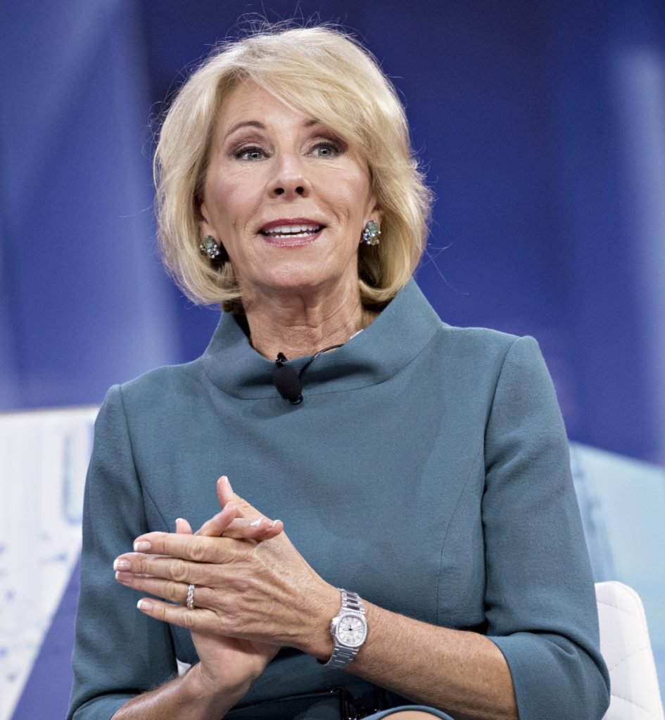 "Education Secretary Betsy DeVos says the federal government holds $1.5 trillion in outstanding student loans and 43 percent of all loans are considered ""in distress."""
