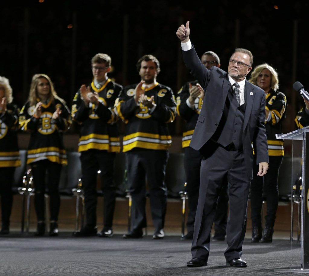 Rick Middleton acknowledges the crowd Thursday night during a ceremony to retire his No. 16 before his former team, the Boston Bruins, took on the New York Islanders at TD Garden.