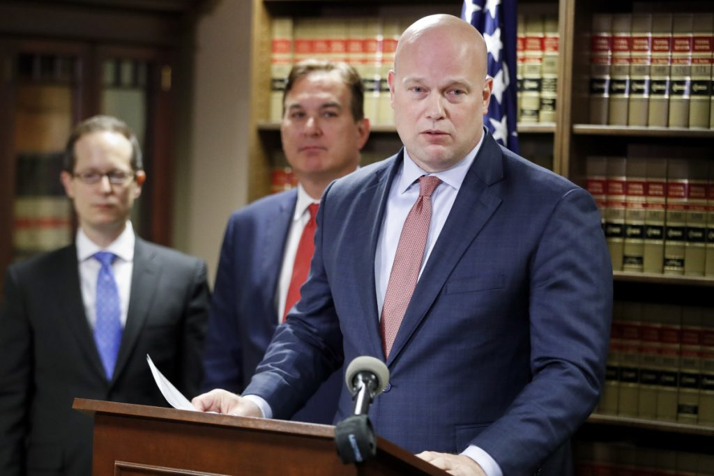 Acting Attorney General Matthew Whitaker at a news conference on Friday in Cincinnati.