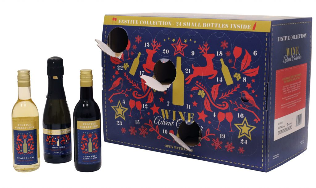 This Wine Advent Calendar from German grocer Aldi has been made available in the U.S. for the first time this year. It appeals to nostalgic adults who want to countdown the days until Christmas by discovering a more age-appropriate treat behind each date.