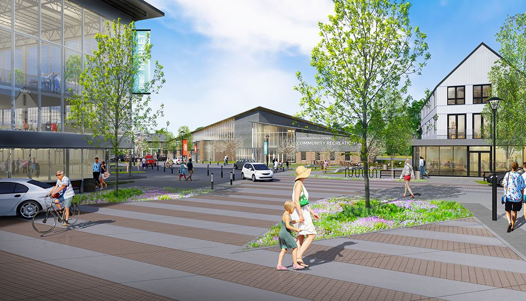 This rendering shows what Main Street might look like if a village center is built at Scarborough Downs, with a renovated and repurposed grandstand to the left and a possible community center in the center background.