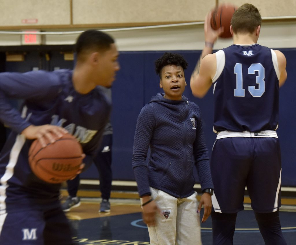 Edniesha Curry works with players at a recent University of Maine men s  basketball practice. Curry is the only female assistant coach for an NCAA  Division I ... 3d7f24168