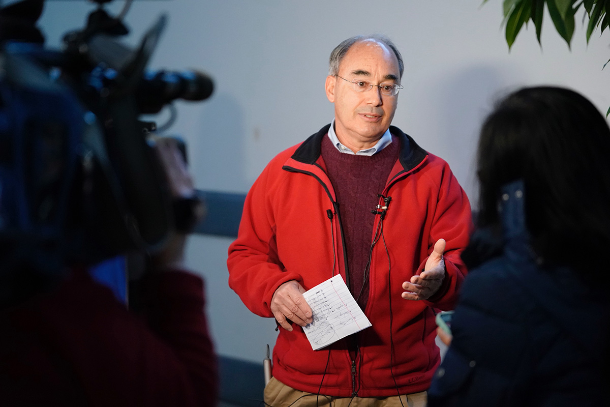 Rep. Bruce Poliquin answers a reporter's question during a press conference at the Portland International Jetport on Tuesday, Nov. 27, 2018.