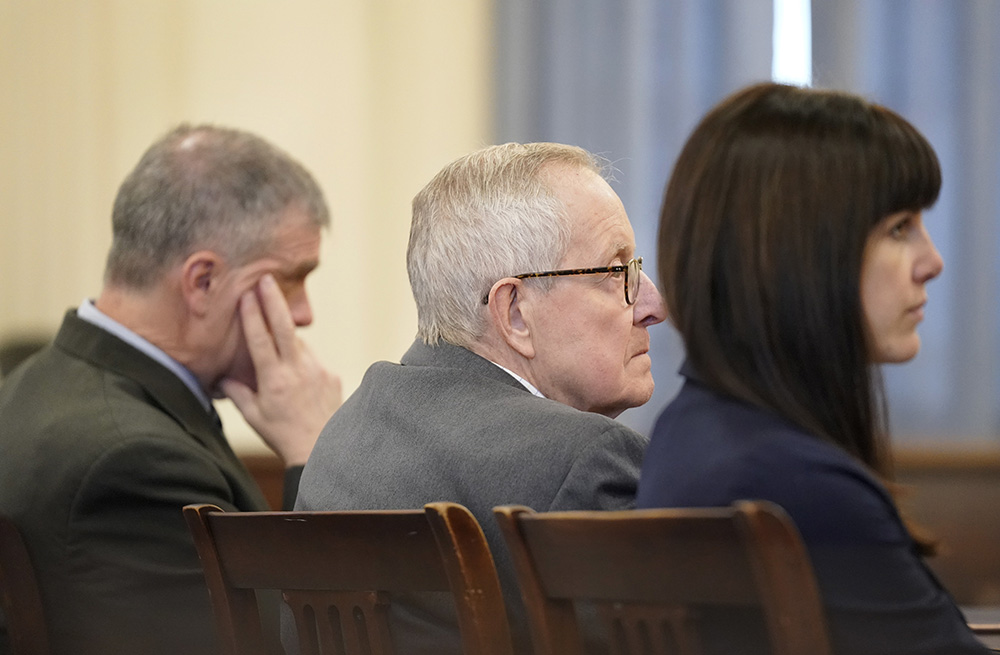 Ronald Paquin, 76, listens as the jury forewoman states the jury's guilty verdict in York County Superior Court in Alfred on Thursday.