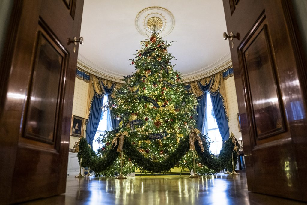 the official white house christmas tree in the blue room stands 18 feet tall on nov