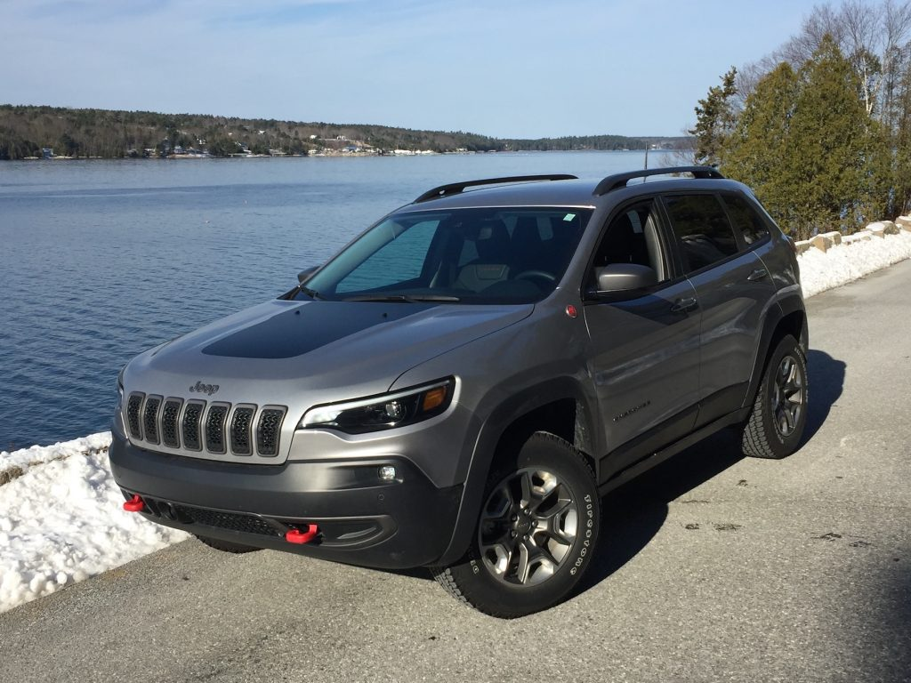 Front-drive Jeep Cherokee models start at $23,995;  with Trailhawk trim, $33,320.  (Photo, on Sargeant Drive on Mount Desert Island, by Tim Plouff.)