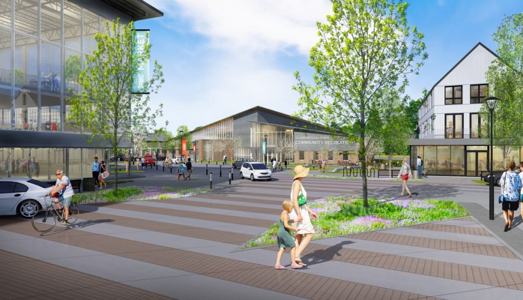 What Main Street might look like if a village center is built at Scarborough Downs, with a renovated and repurposed grandstand to the left and a possible community center in the center background.