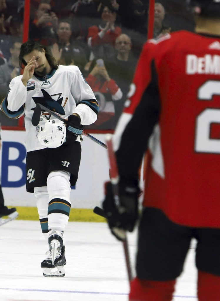 Erik Karlsson, the former Ottawa captain now with San Jose, receives an emotional welcome by the fans on his return Saturday. Ottawa finished with a 6-2 victory.
