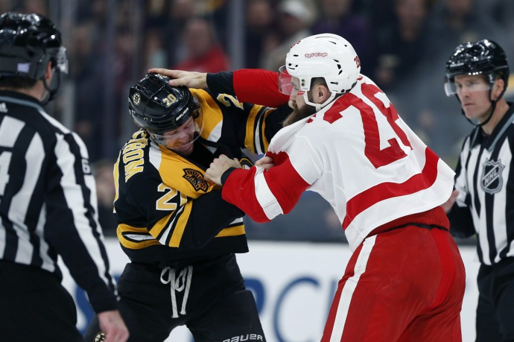 Joakim Nordstrom, left, of the Bruins fights with Detroit Luke Witkowski during the Red Wings' 4-2 win Saturday night at TD Garden.