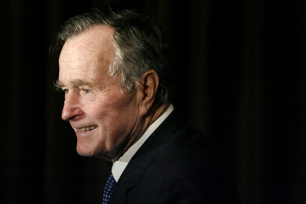 Former President George H.W. Bush arrives at the 2007 Ronald Reagan Freedom Award gala dinner held in his honor in Beverly Hills, Calif.