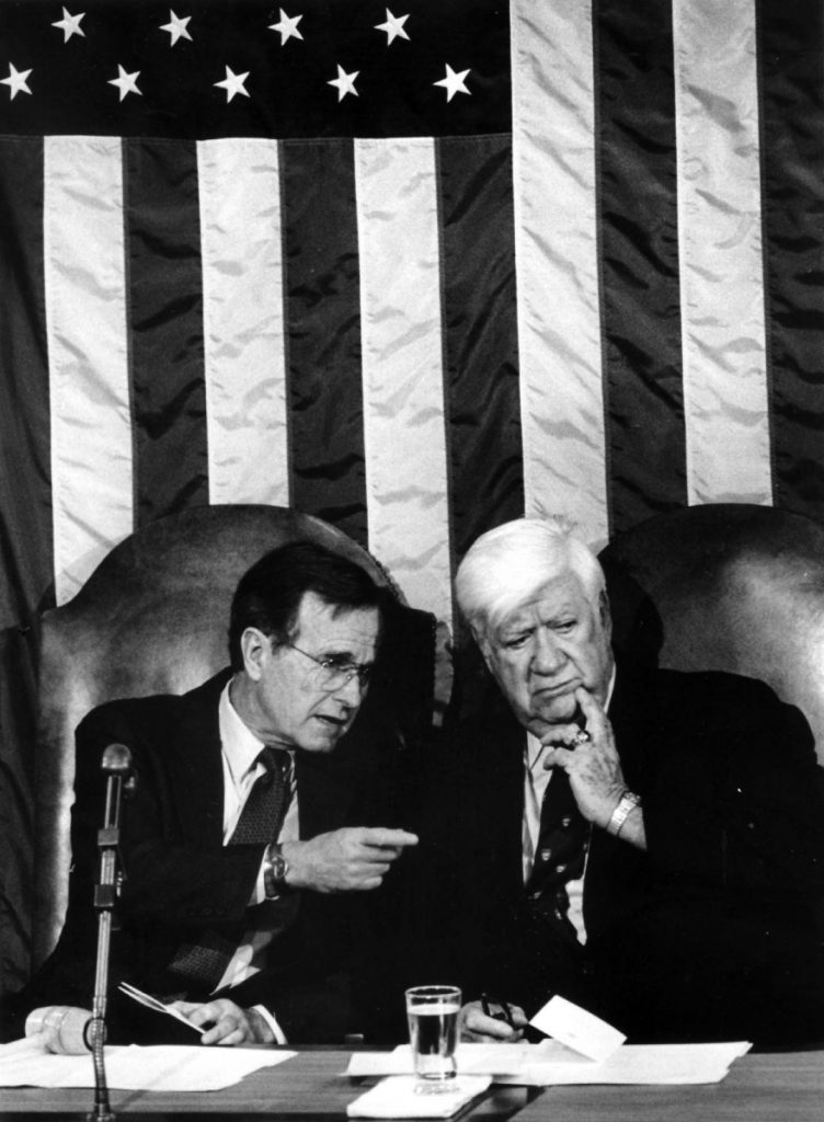 "Vice President George H.W. Bush and House Speaker Thomas ""Tip"" O'Neill during a Joint Session of Congress on March 20, 1985 in Washington, D.C."