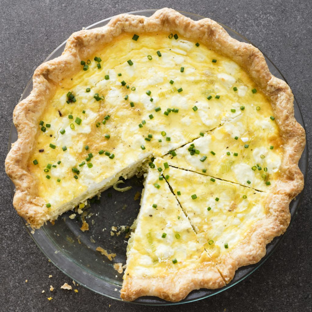Leek and Goat Cheese Quiche makes six to eight servings.