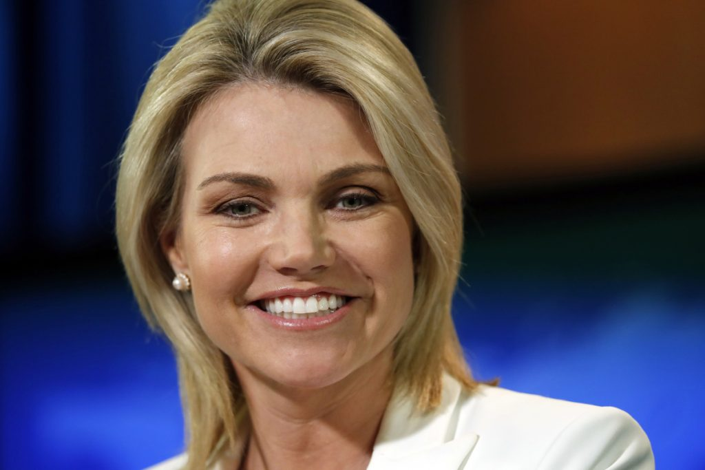 State Department spokeswoman Heather Nauert speaks at a briefing in August 2017. President Trump is expected to nominate Nauert to be the next U.S. ambassador to the United Nations